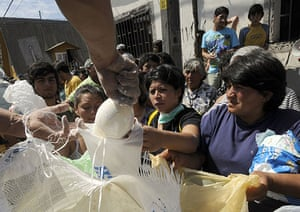 Chile Aid: Flour is being distributed in Constitucion, Chile