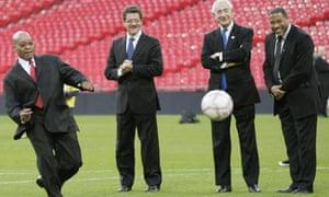 Jacob Zuma kicks a penalty at Wembley