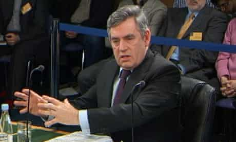 Gordon Brown addressing the Chilcot inquiry into the war on Iraq on 5 March 2010.
