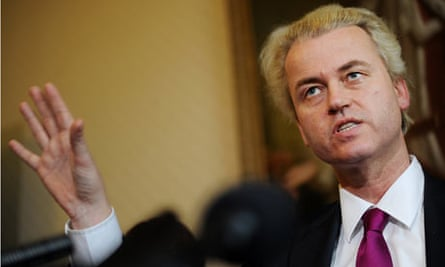 Dutch far-right lawmaker Geert Wilders addresses a press conference in London.