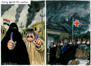 08.03.10 Martin Rowson on voting in Iraq and Iceland