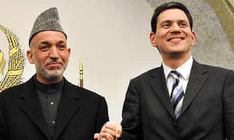 David Miliband with Hamid Karzai in 2008