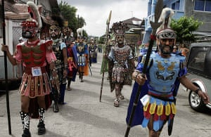 Holy week: Marinduque island, Philippines: Residents dressed as Roman soldiers