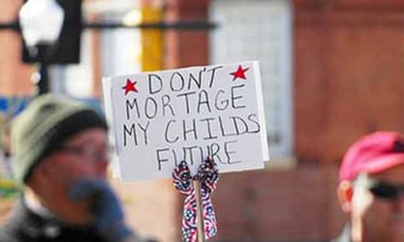 'Don't mortage my future' sign
