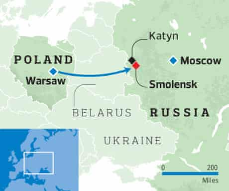 Poland air crash map