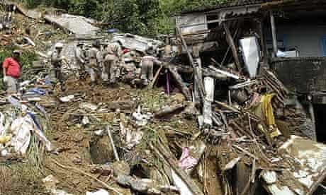 A landslide-damaged area of the Morro dos Prazeres slum in Rio de Janeiro