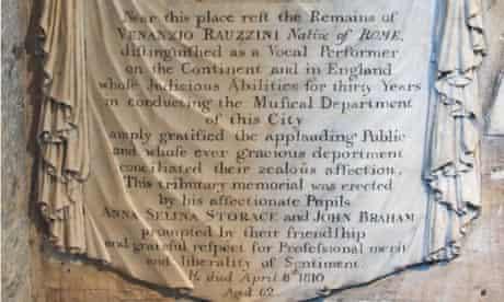 The Bath Abbey inscription in memory of the castrato