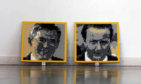 Lego pictures of David Cameron and Gordon Brown at Legoland Windsor.