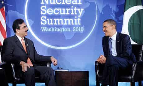 Yousaf Raza Gilani and Barack Obama in Washington