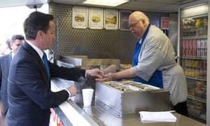 David Cameron buying a cup of tea