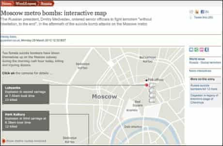 Screenshot of a guardian.co.uk interactive map