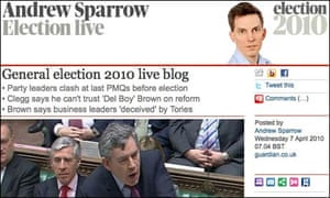 A screenshot of Andrew Sparrow's Election 2010 Live Blog