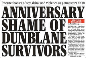 Scottish Sunday Express front page about Dunblane survivors