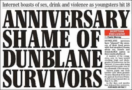 Scottish Sunday Express front page about Dunblane survivors