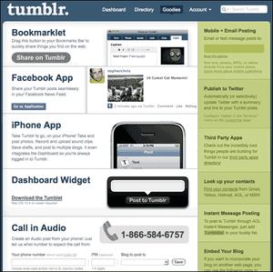 Screenshot of the Tumblr dashboard