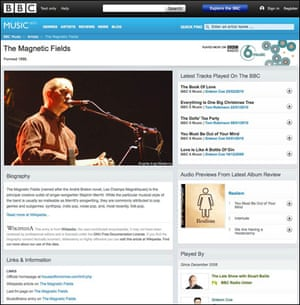 Screenshot of a BBC webpage about The Magnetic Fields