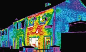 Thermal imaging shows house heat loss