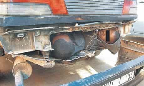Migrants hiding in car