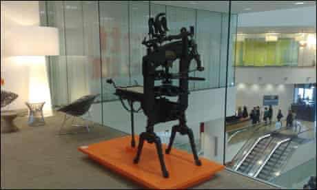 An ornate printing press in the lobby of The Guardian's Kings Place offices
