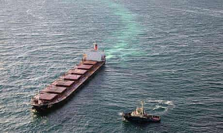 The Chinese carrier Shen Neng 1 aground on the Great Barrier Reef