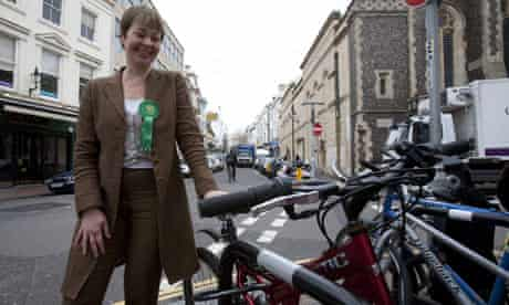 Green party leader Caroline Lucas campaigning in Brighton on 14 April 2010.