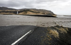 Iceland volcano eruption: A broken section of Iceland's main coastal ring road