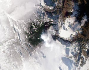 Icelandic volcano: A natural-colour satellite image dated March 24, of Eyjafjallajkull volcano