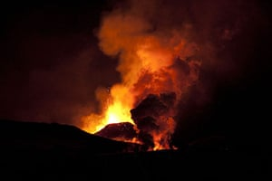 Icelandic volcano: Lava spurting out of the site of a volcano at the Fimmvorduhals volcano