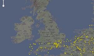 Air traffic control map from www.flightradar24.com