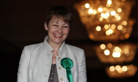 Caroline Lucas, the leader of the Green party, at the launch of her party's manifesto in Brighton