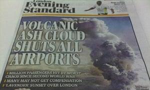 London Evening Standard ash cloud coverage