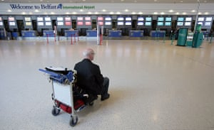 Volcano disruption: A solitary would-be flier at Belfast International Airport,