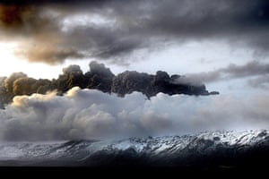 Volcano disruption: Smoke and steam above the volcano at the Eyjafjallajokull glacier