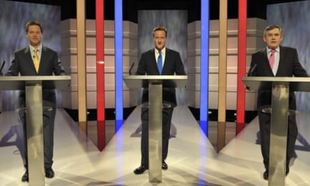 Nick Clegg, David Cameron and Gordon Brown prepare to contest the first election debate