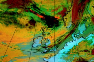 Iceland volcano: A colour satellite image highlighting the ash plume moving towards the UK