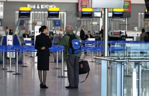 Iceland volcano: A passenger at a quiet Terminal 5 of Heathrow Airport