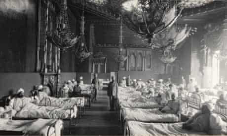 Royal Pavilion, Brighton: one of the room converted into a ward, 1914.