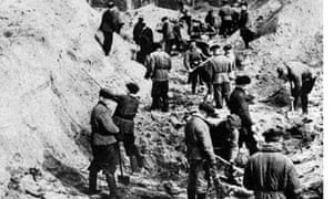 Bodies of Polish officers are exhumed at Katyn, 1943