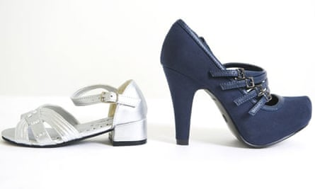 Two of the heeled shoes being sold to fit eight-year-olds