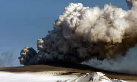 A plume of ash rises from the volcano in southern Iceland
