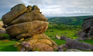 Panoramic outlook from Bonehill Rocks on Dartmoor