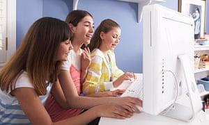 Girls using computer