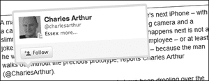 A mock-up of one of the new Twitter @anywhere 'hovercards' as it might appear in a guardian.co.uk article