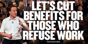 Election posters: The Conservatives' campaign poster to reform the welfare system.