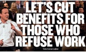 Conservative poster saying 'Let's cut benefits for those who refuse work'
