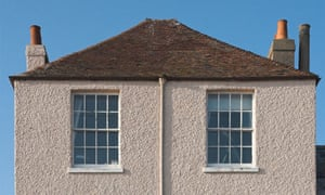 A pebbledashed house in Deal, Kent.