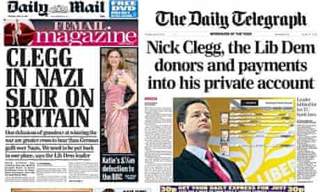 Newspapers attacking Nick Clegg and the Liberal Democrats on 22 April 2010.