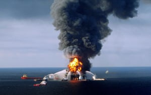 Deepwater Horizon oil rig: the rig catches fire