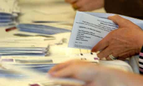 Postal votes being counted in Bradford in 2006.