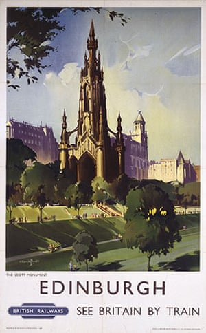 Literary Edinburgh: 1955: A poster for British Railways to promote rail travel to Edinburgh